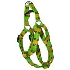 Geschirr für den Hund - Karo-Muster, grün-gelb S 1,6 x 30-45 cm