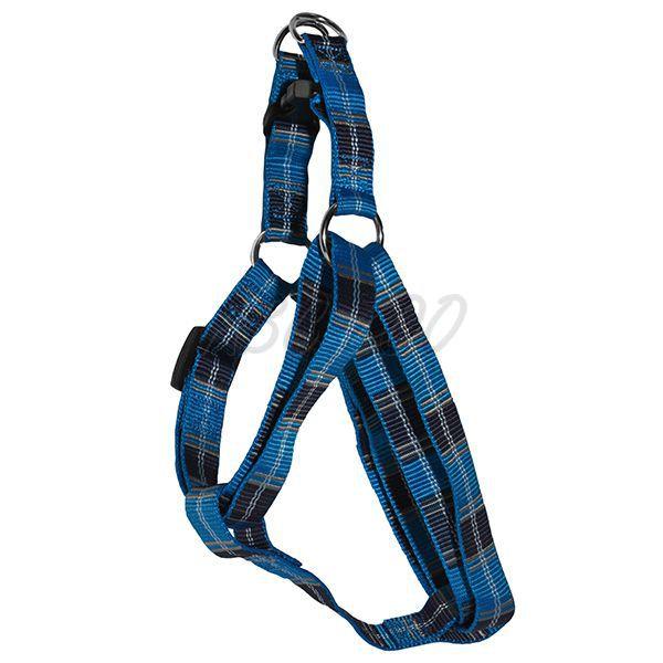 Geschirr für den Hund  KaroMuster, blau M 2 x 4060 cm  ~ X Geschirr Hund