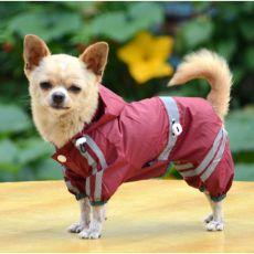 Regenmantel für Hunde mit Reflexstreifen - weinrot, S