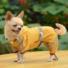 Regenmantel für Hunde mit Reflexstreifen - dunkelgelb, M