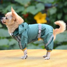 Regenmantel für Hunde mit Reflexstreifen - dunkelgrün, S