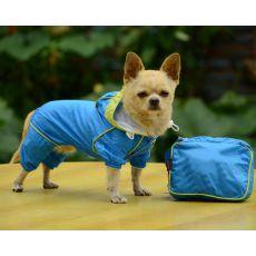 Regenmantel für Hunde in der Tasche - blau, XS