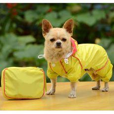 Hunde-Regenmantel in der Tasche - gelb, S