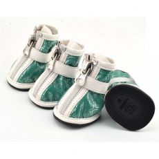 Schuhe für Hunde - silber Print - grün, L