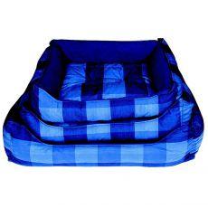 Hundeschlafplatz - eckig, blau, kariert, 60x45cm