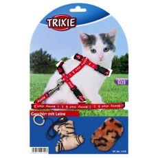 Geschirr mit Leine und Spielzeuge für Katzen - rot
