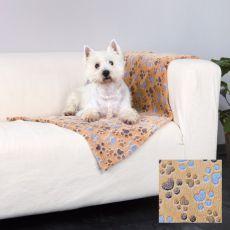 LASLO Decke für Hunde - beige mit Pfoten, 100 x 70 cm